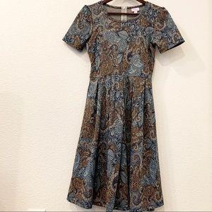 LuLaRoe Amelia Dress Small Blue Paisley